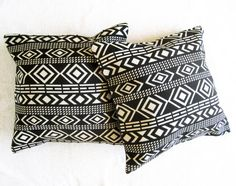 Black White Aztec Kilim Tribal Ethnic Cushion Cover by TumbleTwirl