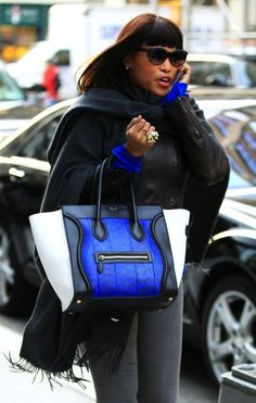 1ff4640ec7cc8 Celine Luggage Handbag in electric blue snakeskin and black and cream  leather