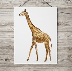 Nice hand drawn Wildlife art. Beautiful Watercolor print for your home and office. Cute Nursery print. Lovely Giraffe poster. BUY 1 GET 1 FREE -