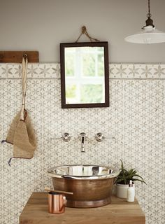 Aphrodite Kythera basin, Palazzo tiles, Reclaimed Teak washbench, Bastide tap and Oak Apple paint http://www.firedearth.com/bathrooms/shop/new-in/aphrodite-kythera-basin-3