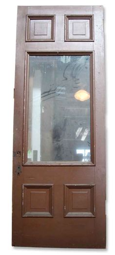 We have a small quantity available of these vintage glass panel entry doors. Some are missing glass. Antique Door Hardware, Antique Doors, Entry Doors With Glass, Brown Paint, Diy Door, Wooden Doors, This Is Us, Windows, Antiques