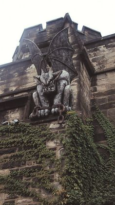 "Temporary ""Gargoyle"" (6ft 300lbs) at the Eastern State Penitentiary Historic Site, Philadelphia PA.  They do this for Halloween!"