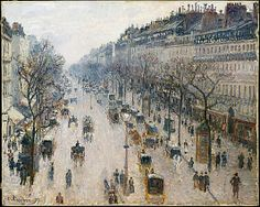 Camille Pissarro (French, Charlotte Amalie, 1830–1903). The Boulevard Montmartre on a Winter Morning, 1897. The Metropolitan Museum of Art, New York. Gift of Katrin S. Vietor, in loving memory of Ernest G. Vietor, 1960 (60.174)