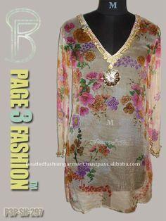 Donna Indian Bollywood stampato Designer Wear SHORT Kurti Tunica Kurta Tunica Top