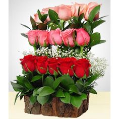 To stand out in any occasion, a subtle but innovative arrangement which includes:- 15 roses in three different colors, beautifully arranged in a rustic base and green foliage. Arrangement Floral Rose, Modern Floral Arrangements, Creative Flower Arrangements, Altar Flowers, Church Flower Arrangements, Beautiful Flower Arrangements, Paper Flowers, Flower Box Gift, Flower Boxes