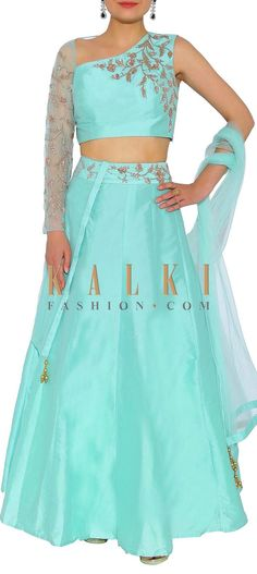 Kalki Sea Blue One Sleeves Silk And Net Lehenga Choli With Zardosi Embroidery Net Lehenga, Lehenga Choli, Anarkali, Indian Clothes, Indian Outfits, India Fashion, Women's Fashion, Zardosi Embroidery, Lehenga Designs
