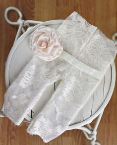 Cream Upcycled Newborn Lace pants with Cream by HowMuchILoveYou, $20.00
