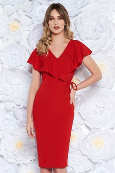 ab0a41b9a7e0 StarShinerS red elegant pencil dress from elastic fabric with v-neckline, tented  cut,