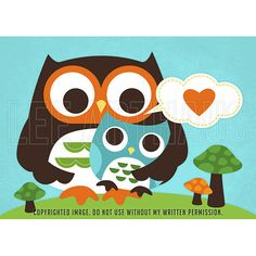 63B Bright Mom Hugging Baby Boy Owl Print 5x7