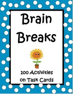 Brain Breaks by The Teacher Next Door is a set of 100 task cards filled with active games, exercises, and creative movement to help your kids regain focus after periods of sitting. These activities are not only fun but beneficial for learning. Studies have shown that brain breaks activate the mind and help to relieve stress. Plus, kids think they're so much fun! $