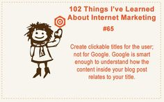 102 Things I've Learned About Internet Marketing #65 #internet #marketing #social #media #infography #make #money #online #facebook #traffic #target #search #engine #optimization #seo #affiliate #IM