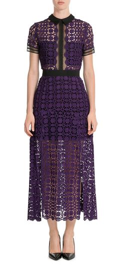 Attention to detail is key to Self-Portrait, the coveted brand started by Central St Martins graduate, Han Chong, and the label's love of intricacy is evident in this vibrant purple lace midi dress. Trimmed with a sheer black insert through the top and a smart pointed collar, it marries modern edge with sultry cool #Stylebop