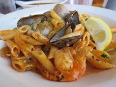 Seafood Penne without fish or veggies but still delish!