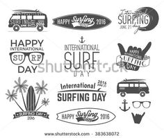 Summer surfing day graphic elements. Vector Vacation typography emblems set. Surfer party with surf symbols - shaka sign, rv style car, board graphic, palms. Best for web design or print on t-shirt.
