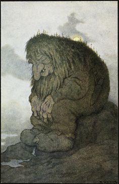 Norwegian Trolls - by Theodor Kittelsen Art And Illustration, Illustrations, Trolls, John Bauer, Most Popular Artists, Goblin, Kobold, Art Graphique, Nature Paintings