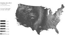 Wind speed map of hurricane Sandy