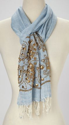 Look at this Blue Abstract Beaded Scarf Pretty Outfits, Beautiful Outfits, Cool Outfits, Beautiful Clothes, Blue Fashion, Women's Fashion, High Fashion, Cute Scarfs, Basic Outfits