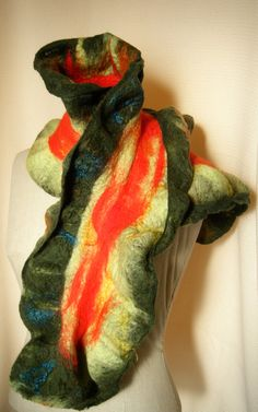 Wavy scarf in Red and geen Felted Merino ruffle by sprywhimsy, $58.00