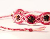 Pink Beaded Friendship Bracelet with Flat Millefiori Black Beads....  Etsy Treasury › summer colors by Nadin Sandler