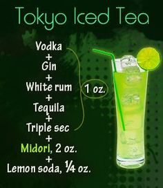 St Patricks Day Cocktail Recipes for a Crowd Cocktail Shots, Tokyo Tea Cocktail Recipe, Liquor Drinks, Beverages, Alcholic Drinks, Alcohol Drink Recipes, Drink Specials, Summer Drinks, Drink Recipes