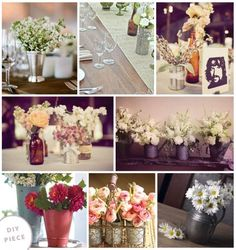 Metal watering can centerpieces