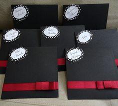 PAP CONVITES - Festa Anos 60 Decoração Branco Preto Vermelho Convites