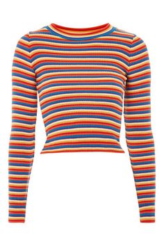 67c20c38d6d Rainbow Striped Knitted Top - T-Shirts - Clothing - Topshop USA Cardigan  Outfits