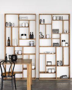 Open double-sided teak bookcase TEAK M-RACK | Teak bookcase - Ethnicraft