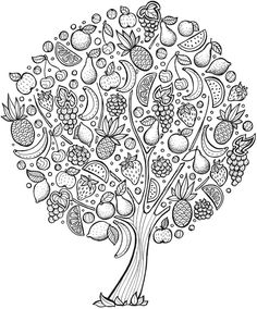 Árbol color fruit doodle, fruit coloring pages, tree coloring page, free ad Tree Coloring Page, Coloring Book Pages, Printable Coloring Pages, Coloring Pages For Kids, Coloring Sheets, Adult Coloring, Fruit Picture, Mandala Coloring, Draw