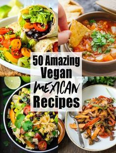 If you're looking for vegan Mexican recipes, this is the perfect roundup for you! Mexican food is just sooo delicious! So many great vegan dinner ideas in just one place: vegan tacos, tortillas, and so much more! Vegan recipes can be so easy! #vegan #Mexicanfood #dinnerideas