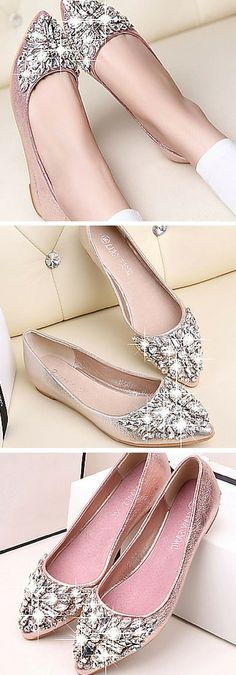 Crystal-embellished metallic flats. These shoes are a fashionable way to do bling on a budget! Get them in pink, gold or silver.