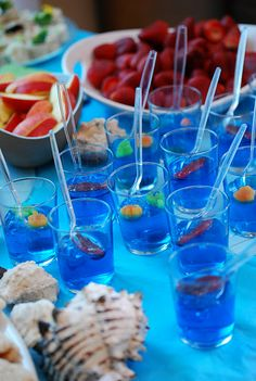 Ocean Birthday Party - jello cups, i did this for chloe's mermaid party, tooo cute but make sure to use fruit and not  gummmy sharks haha.