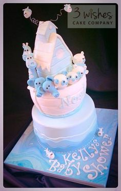 For my beautiful Niece, Kelly who is 8 months pregnant and expecting her first l'il boy, Noah! Today, we are having her baby shower and what else could the cake be but an Ark! The base is Vanilla Madiera but the ark is moulded out of RKT J x