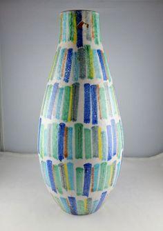 Murano Raymor Italian Pottery Mid - Century Modern Vase - Colorful Design