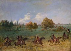 George Catlin. Comanche War Party on the March, Fully Equipped. 1846-1848. Smithsonian American Art Museum.