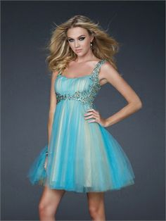 A-line Empire Waist with Straps Applique Knee Length Prom Dress PD1910 http://www.simpledresses.co.uk