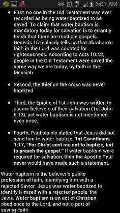 No baptism for salvation!