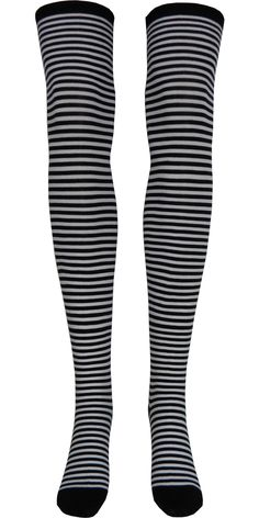 Product Details These cute black and white zebra striped over the knee socks are sure to make you stand out. Sizing Information: Shoe Size: Women's 5-10 Style: Over the Knee Primary Colors: Black, Whi