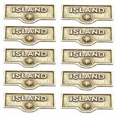 10 Switch Plate Tags ISLAND Name Signs Labels Lacquered Brass