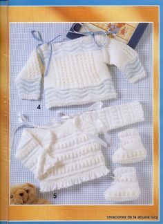 """Photo from album """"Muestras y Motivos on Yandex. Baby Sweater Knitting Pattern, Baby Knitting, Knitting Patterns, Baby Jessica, Baby Barn, Crochet Baby Clothes, Crochet Magazine, Little Girl Outfits, Baby Socks"""