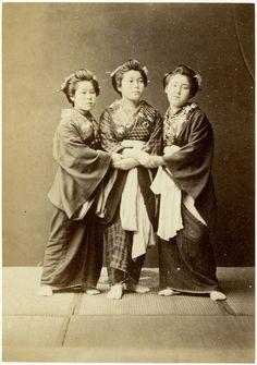 Women holding hands, Raimund von Stillfried, Meiji Period. Japan.