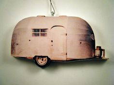 This listing is for a wood cutout with picture affixed of a vintage Airstream camper..... turned into a Christmas treasure for years to come. #airstream