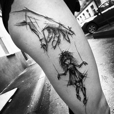 Creative tattoo by Inez Janiak. I would change it up a little by having the girl reaching up to cut the strings and have the words don't be a puppet underneath her