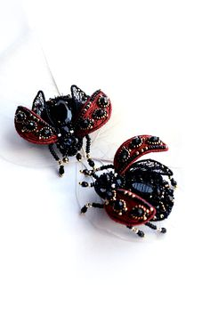 Ladybug brooch red black handcrafted Lady cow от PurePearlBoutique