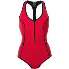 Duskii 'Oasis' one-piece swimsuit ($149) ❤ liked on Polyvore featuring swimwear, one-piece swimsuits, red, red bathing suit, 1 piece bathing suits, one piece swimsuit, scoop neck one piece swimsuit and 1 piece swimsuit