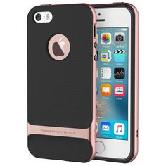 iPhone SE Case, ROCK® MOOST [Royce Series] Dual Layer Thin & Slim Shockproof Case for iPhone SE / iPhone 5s [Black / Rose Gold]. Designed Specifically for Apple iPhone SE 2016 and iPhone 5s 2013 Release. PHONE SCRATCH PROTECTION: The borders slightly elevate the phone's screen enough to prevent scratching. SLIM FIT: Slim and lightweight design perfectly protects your cell phone and gives it a professional, sleek and modern look. PRECISION CUTOUT: Perfect cutout for iPhone exposes the...