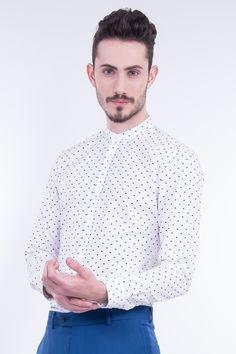Slim Fit Shirt In Little Fish Print With Grandad Collar