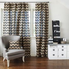 Chevron Burlap Panel | Ballard Designs-- for shower curtain