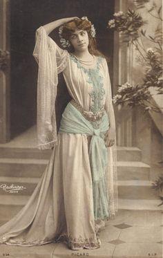 Lovely Artiste Picard in Classic Art Nouveau Costume, by Reutlinger of Paris, 1900s