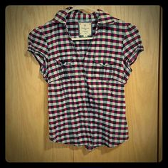 Short Sleeve Purple and Black Plaid Button Up Top Cinched in the back for a tight fit Heritage 1981 Tops Blouses